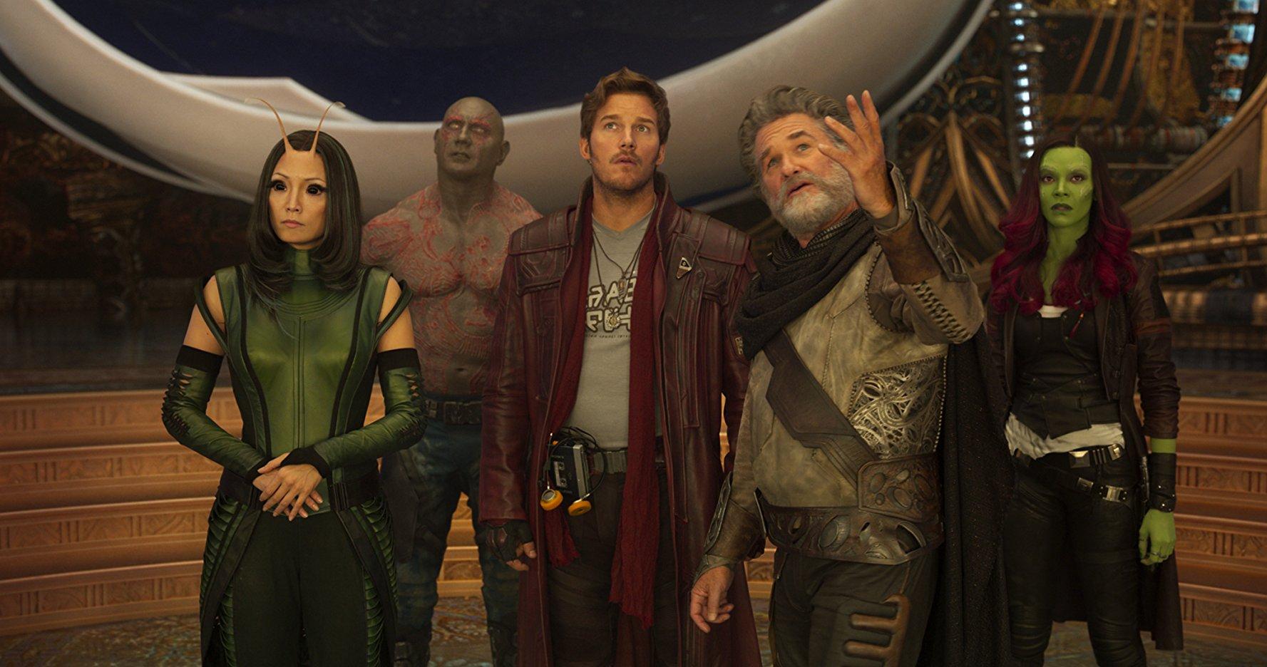 Kurt Russell, Chris Pratt, Zoe Saldana, Dave Bautista e Pom Klementieff