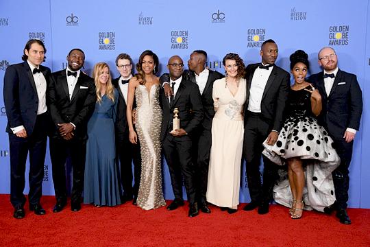 il cast di Moonlight con il Golden Globe 2017